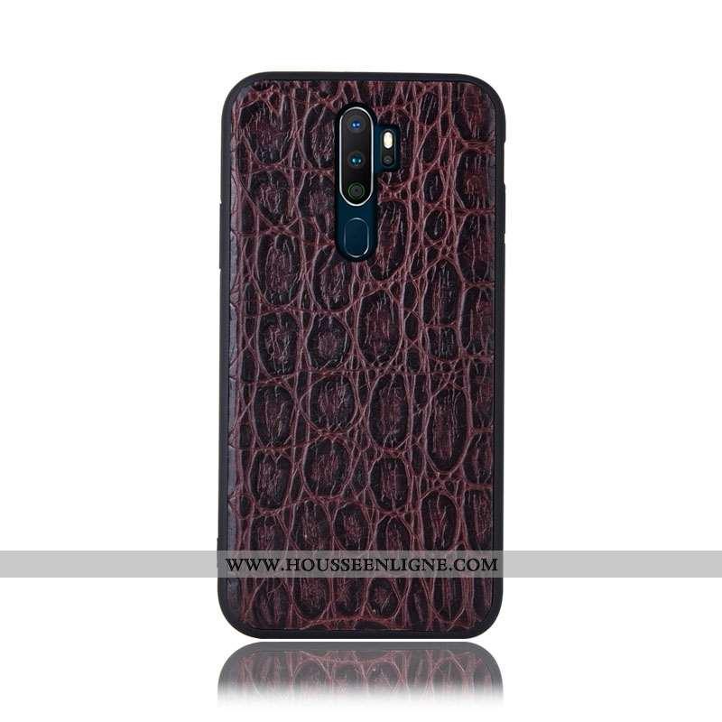 Housse Oppo A5 2020 Protection Cuir Véritable Téléphone Portable Couvercle Arrière Incassable Coque