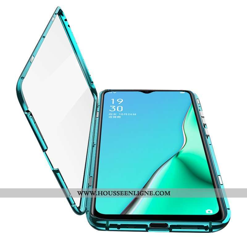 Housse Oppo A5 2020 Protection Verre Téléphone Portable Reversible Tout Compris Vert Étui Verte