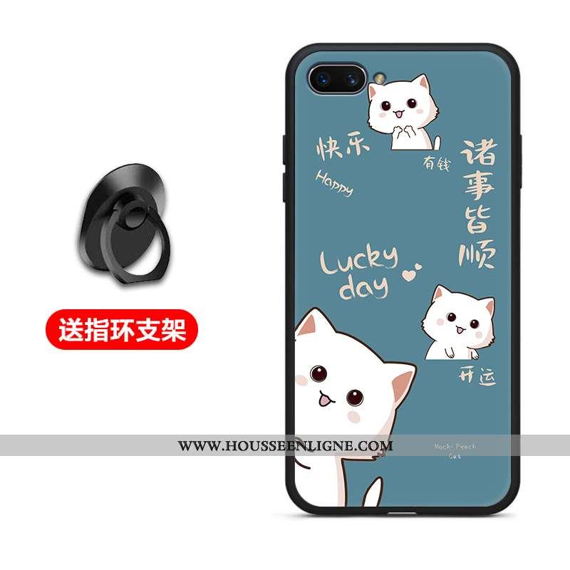 Housse Oppo A5 Protection Délavé En Daim Coque Incassable Fluide Doux Téléphone Portable Bleu