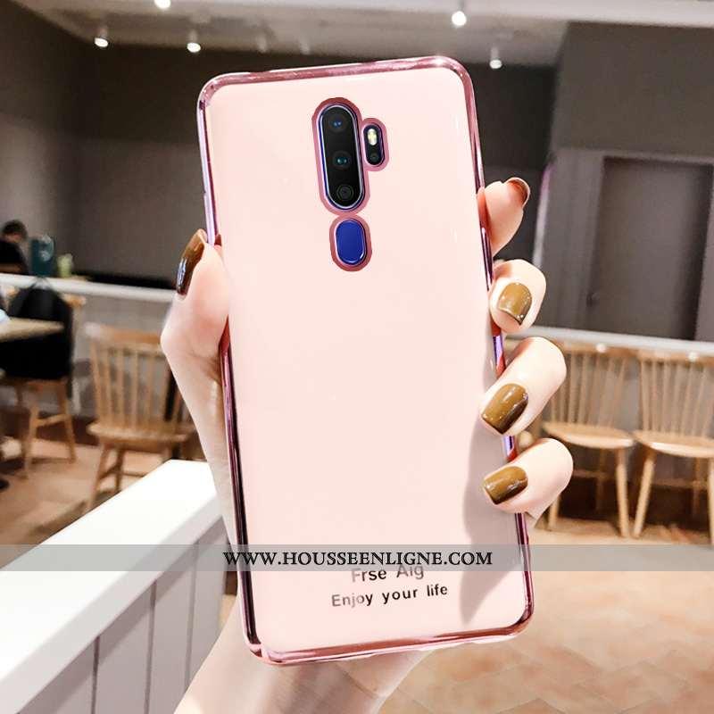 Housse Oppo A9 2020 Multicolore Incassable Placage Rose Couleur Unie Téléphone Portable Coque