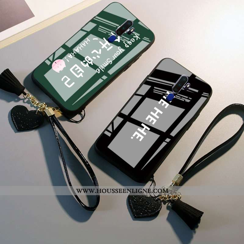 Housse Oppo A9 2020 Protection Verre Téléphone Portable Net Rouge Étui Personnalité Tendance Noir
