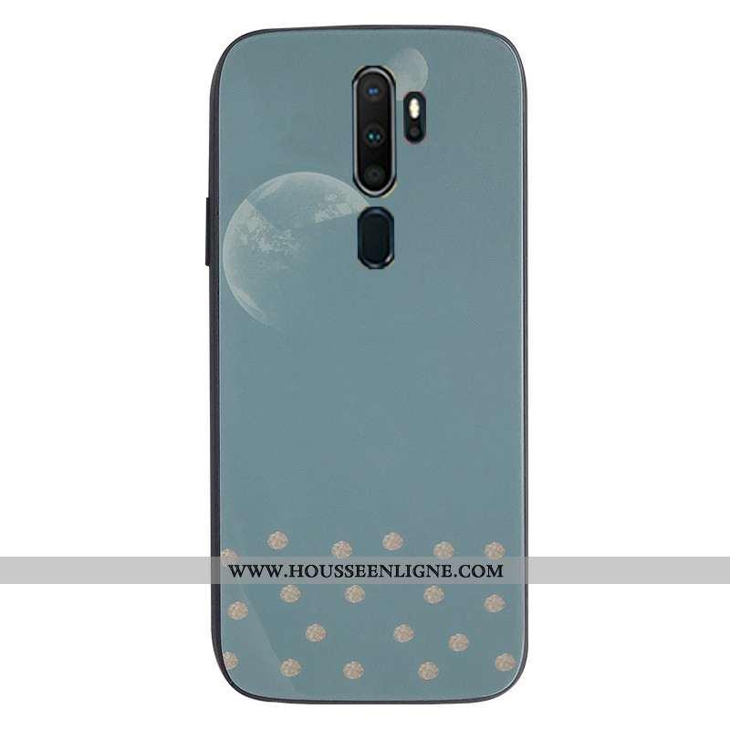 Housse Oppo A9 2020 Verre Tendance Coque Téléphone Portable Bleu Support Protection