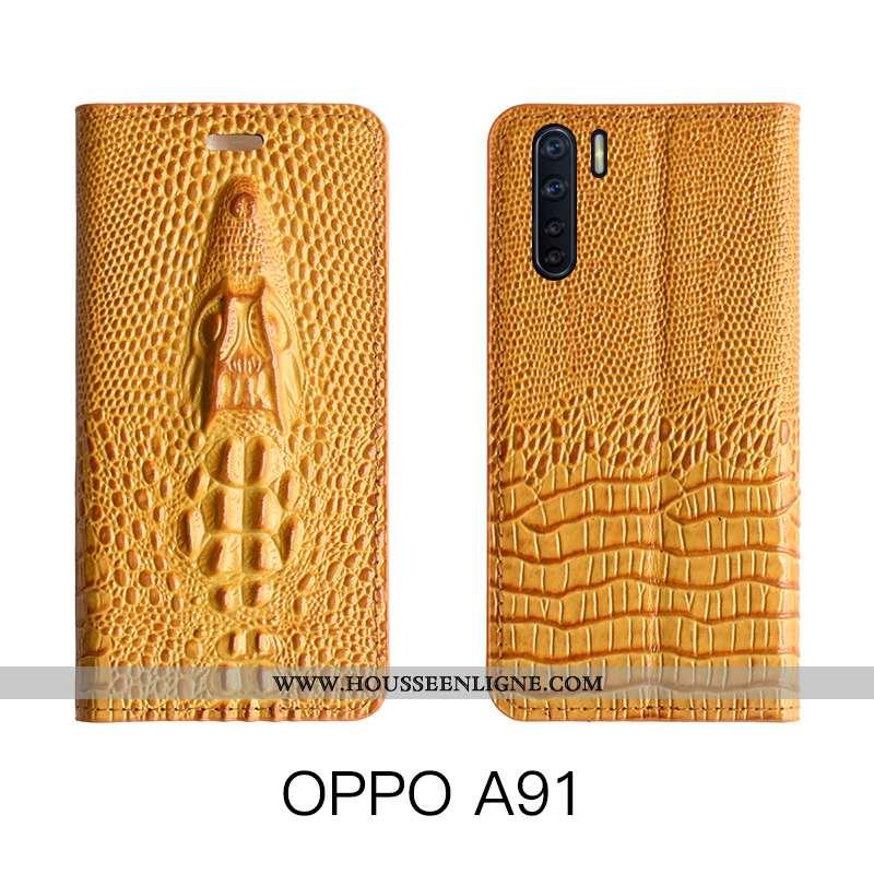 Housse Oppo A91 Cuir Véritable Cuir Étui Luxe Téléphone Portable Luxe Jaune