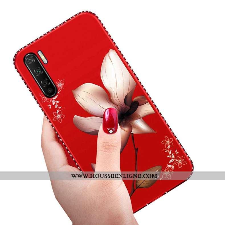 Housse Oppo A91 Délavé En Daim Créatif Rouge Téléphone Portable Silicone Tout Compris Net Rouge