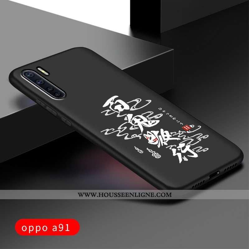 Housse Oppo A91 Protection Délavé En Daim Silicone Tout Compris Personnalisé Étui Noir