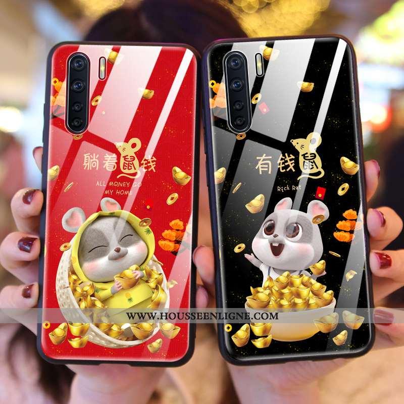 Housse Oppo A91 Tendance Coque Téléphone Portable Rat Richesse Net Rouge Rouge