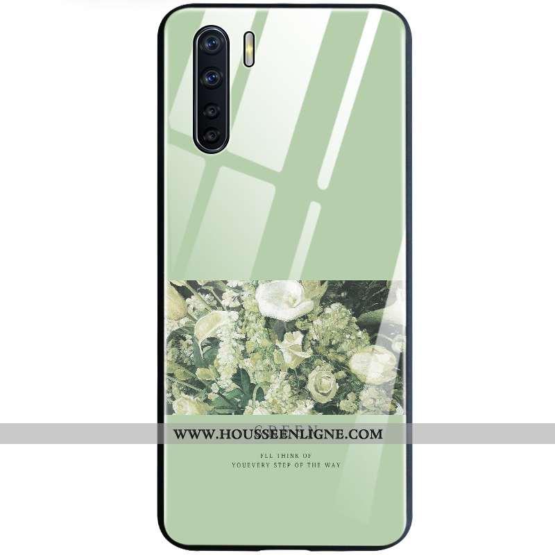 Housse Oppo A91 Verre Tout Compris Étui Vert Téléphone Portable Coque Verte