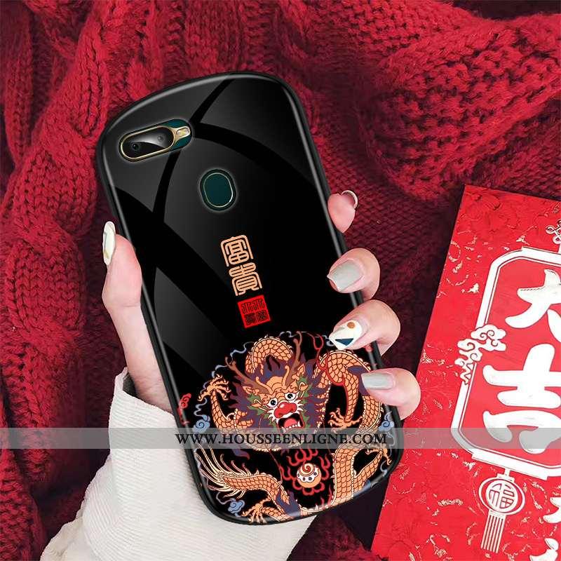Housse Oppo Ax7 Tendance Verre Palais Créatif Style Chinois Vintage Téléphone Portable Noir