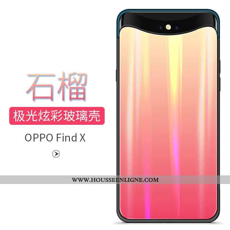 Housse Oppo Find X Tendance Verre Téléphone Portable Incassable Coque Rouge Jours