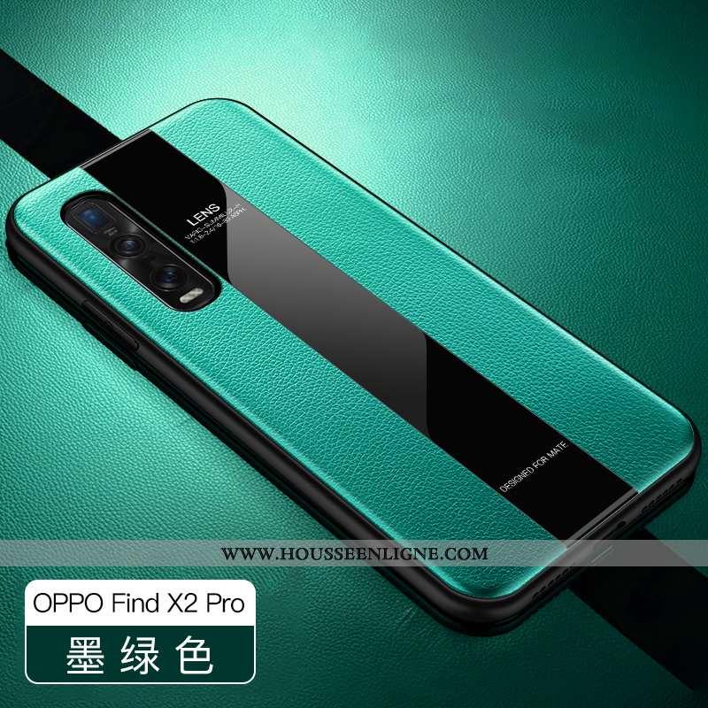 Housse Oppo Find X2 Pro Légère Cuir Protection Nouveau Silicone Business Vert Verte