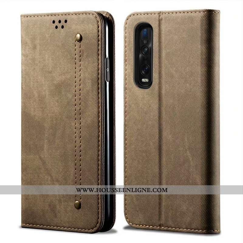 Housse Oppo Find X2 Pro Protection Cuir Incassable Tout Compris Coque Téléphone Portable Étui Khaki