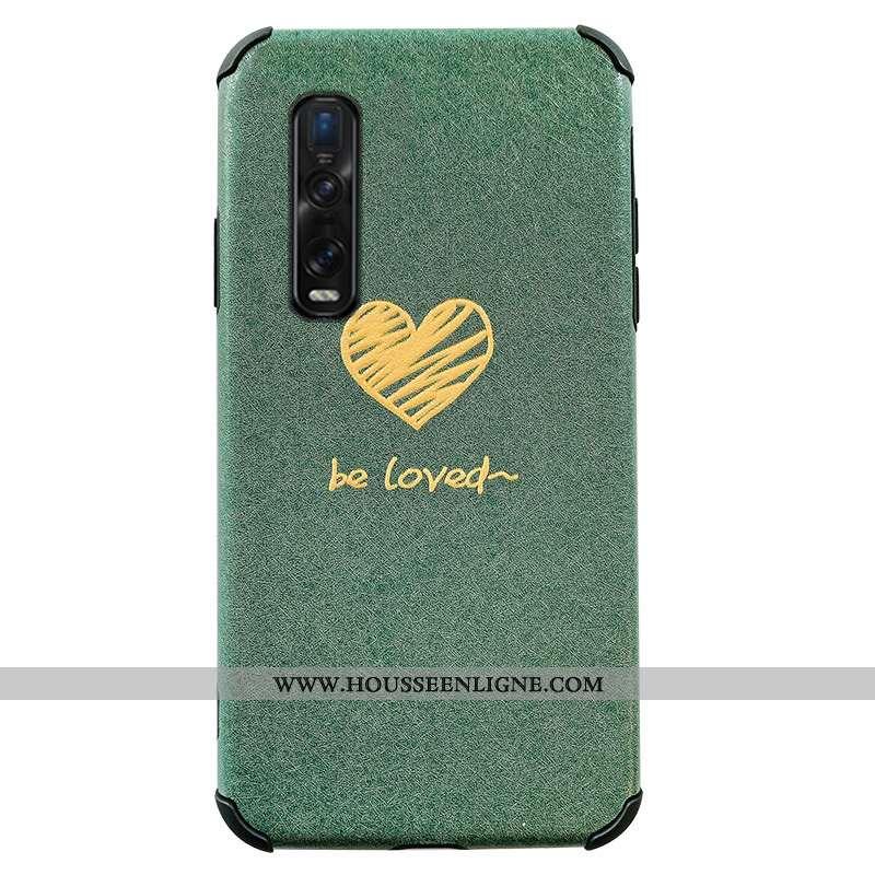 Housse Oppo Find X2 Pro Protection Personnalité Tout Compris Téléphone Portable Vert Incassable Flui