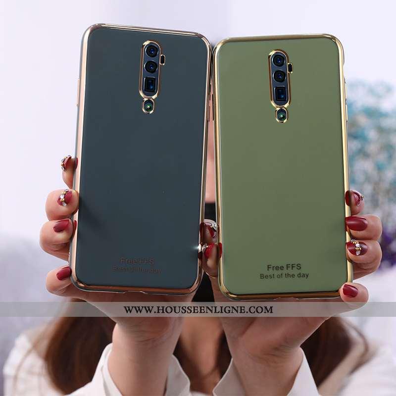 Housse Oppo Reno 10x Zoom Fluide Doux Mode Étui Coque Membrane Téléphone Portable Placage Verte