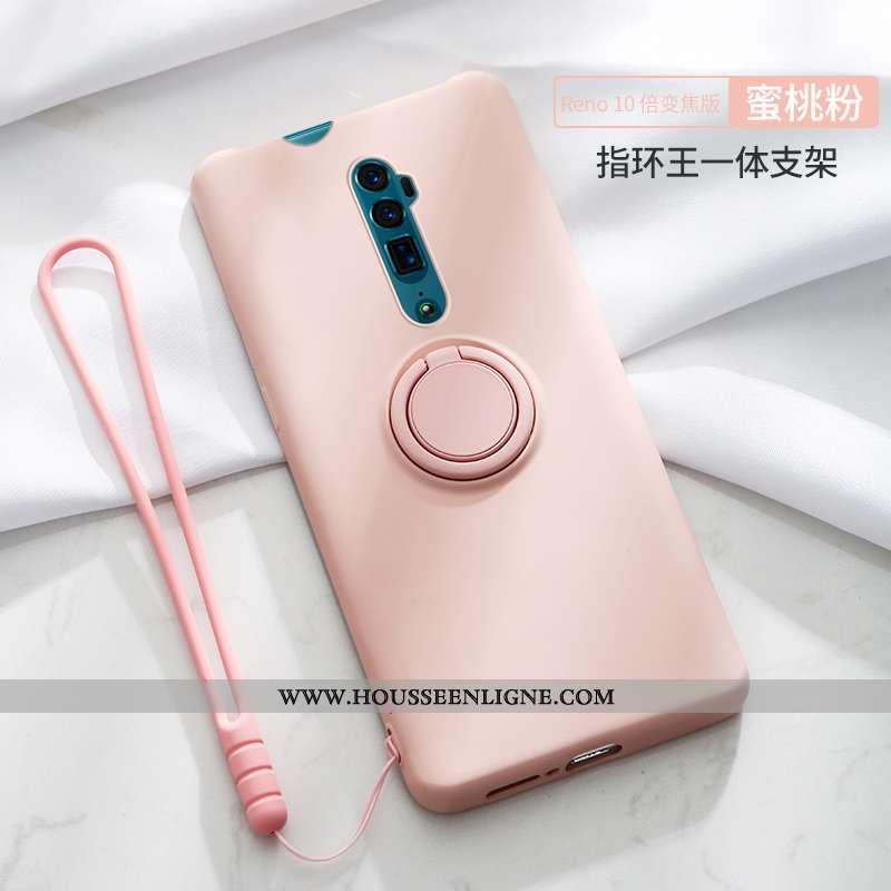 Housse Oppo Reno 10x Zoom Silicone Protection Téléphone Portable Coque À Bord Anneau Incassable Rose
