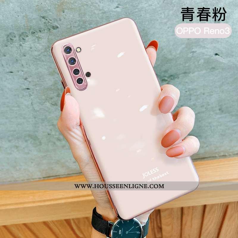 Housse Oppo Reno 3 Fluide Doux Silicone Net Rouge Rose Incassable Protection Téléphone Portable