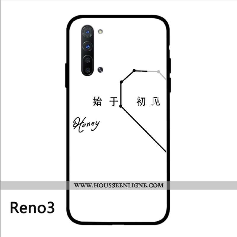 Housse Oppo Reno 3 Tendance Protection Téléphone Portable Simple Blanc Verre Étui Blanche