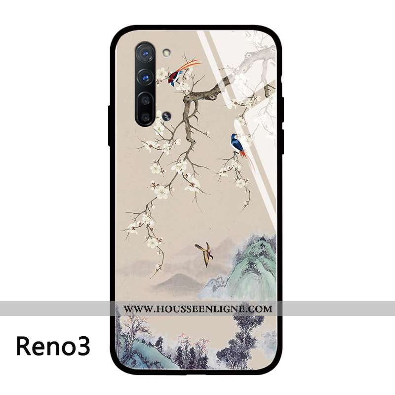 Housse Oppo Reno 3 Tendance Silicone Téléphone Portable Protection Net Rouge Style Chinois Créatif B