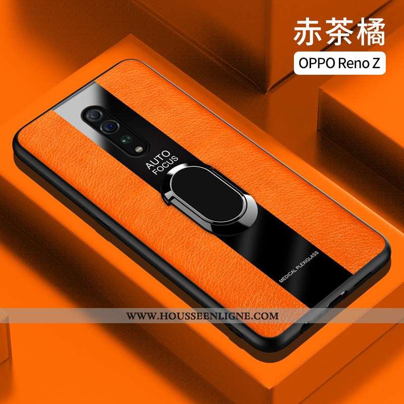 Housse Oppo Reno Z Cuir Fluide Doux Coque Orange Silicone Téléphone Portable Étui