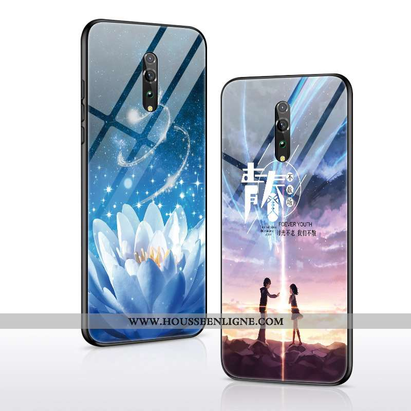Housse Oppo Reno Z Fluide Doux Protection Verre Téléphone Portable Tout Compris Bleu Tendance