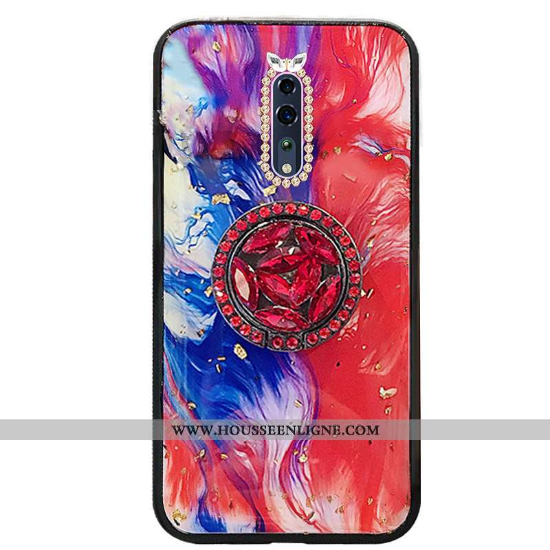 Housse Oppo Reno Z Incruster Strass Tendance Rouge Protection Luxe Téléphone Portable Mode