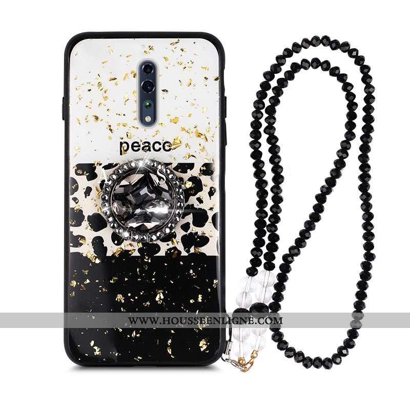 Housse Oppo Reno Z Modèle Fleurie Mode Téléphone Portable Coque Anneau Incassable Strass Noir