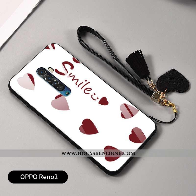 Housse Oppo Reno2 Protection Verre Net Rouge Amour Incassable Coque Fluide Doux Blanche