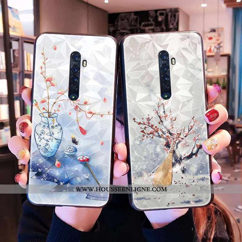 Housse Oppo Reno2 Tendance Modèle Fleurie Téléphone Portable Tout Compris Style Chinois Bleu Incassa