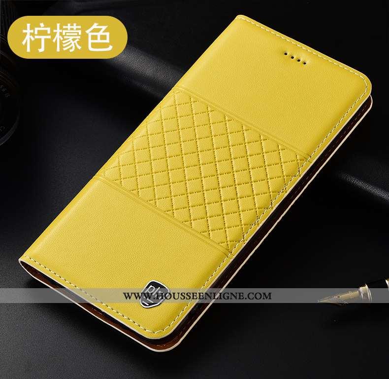 Housse Oppo Reno2 Z Cuir Véritable Protection Incassable Coque Étui Téléphone Portable Jaune