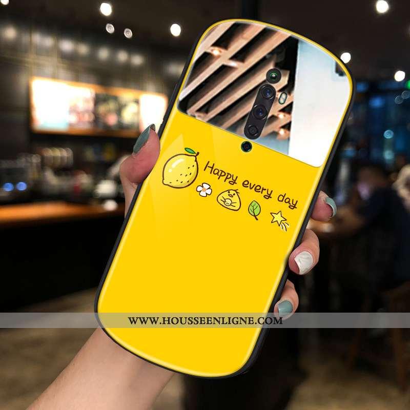 Housse Oppo Reno2 Z Tendance Téléphone Portable Net Rouge Nouveau Rond Coque Jaune