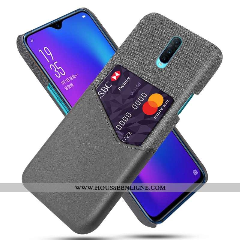 Housse Oppo Rx17 Pro Personnalité Cuir Téléphone Portable Étui Protection Incassable Coque Gris