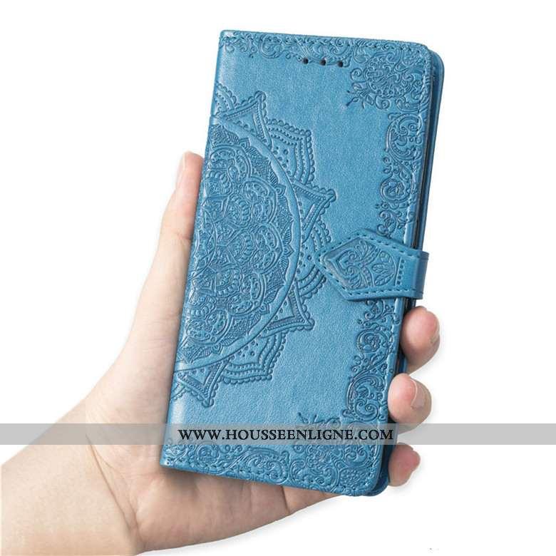Housse Samsung Galaxy A10 Cuir Fluide Doux Étui Coque Bleu Téléphone Portable