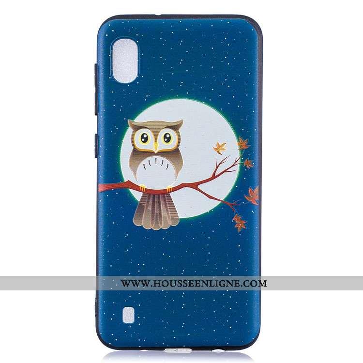 Housse Samsung Galaxy A10 Délavé En Daim Dessin Animé Téléphone Portable Bleu Marin Tendance Étoile