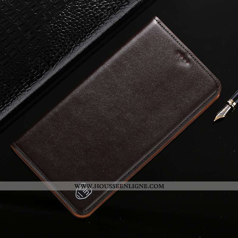 Housse Samsung Galaxy A10 Modèle Fleurie Protection Marron Cuir Véritable Incassable Étoile
