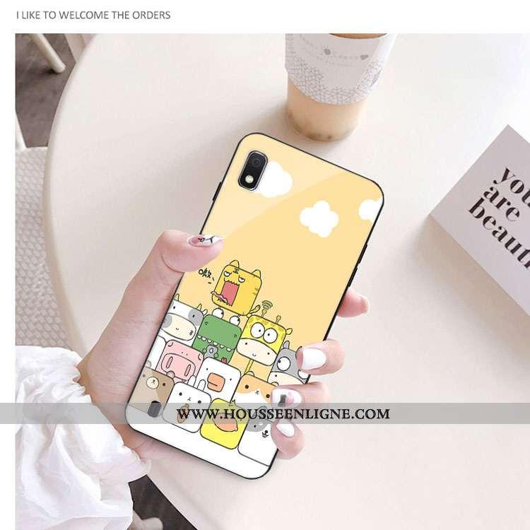 Housse Samsung Galaxy A10 Verre Dessin Animé Charmant Jaune Téléphone Portable Coque Protection