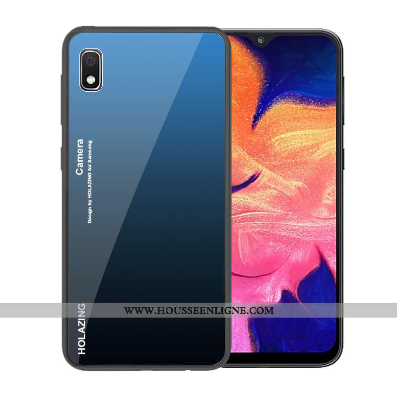 Housse Samsung Galaxy A10 Verre Tendance Téléphone Portable Coque Dégradé Étoile Protection Bleu Fon