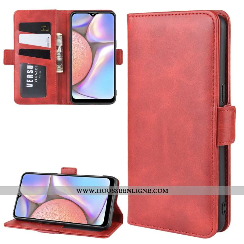 Housse Samsung Galaxy A10s Cuir Protection Business Étoile Une Agrafe Rouge Coque