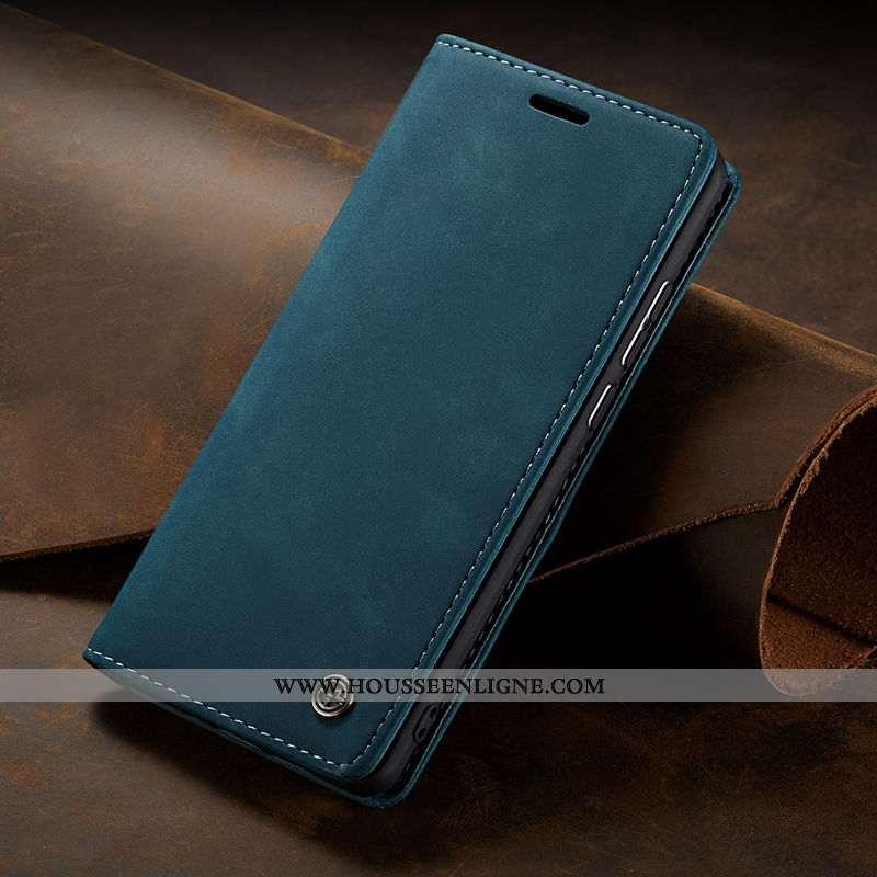 Housse Samsung Galaxy A10s Cuir Protection Véritable Luxe Coque Business Étui Bleu Foncé