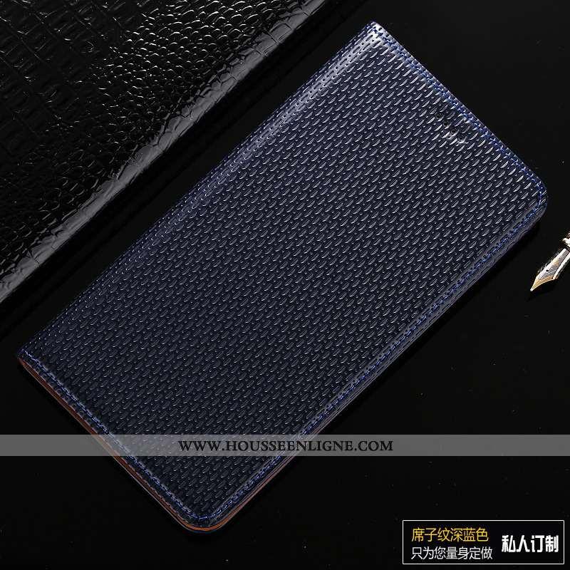 Housse Samsung Galaxy A10s Cuir Véritable Modèle Fleurie Incassable Bleu Marin Téléphone Portable Ét