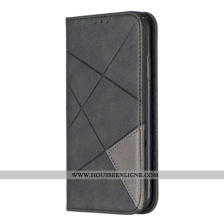 Housse Samsung Galaxy A10s Protection Portefeuille Étui Cuir Coque Losange Étoile Noir