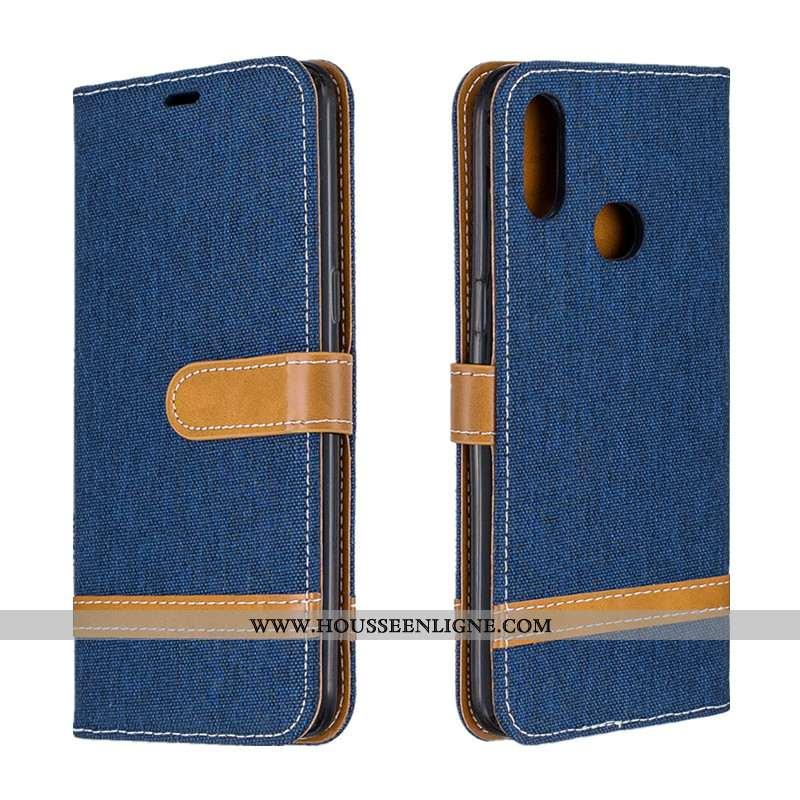 Housse Samsung Galaxy A10s Protection Portefeuille Étui Cuir Tendance Bleu Marin Bleu Foncé