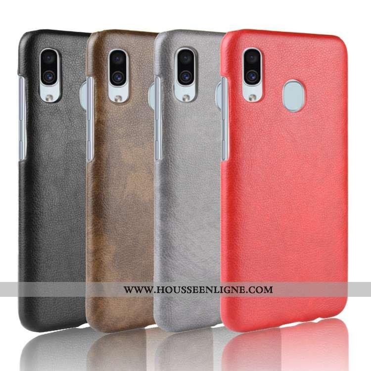 Housse Samsung Galaxy A20e Cuir Modèle Fleurie Téléphone Portable Rouge Litchi Difficile Étoile