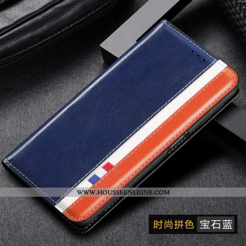 Housse Samsung Galaxy A20e Cuir Véritable Bleu Marin Téléphone Portable Tout Compris Étoile Coque Bl