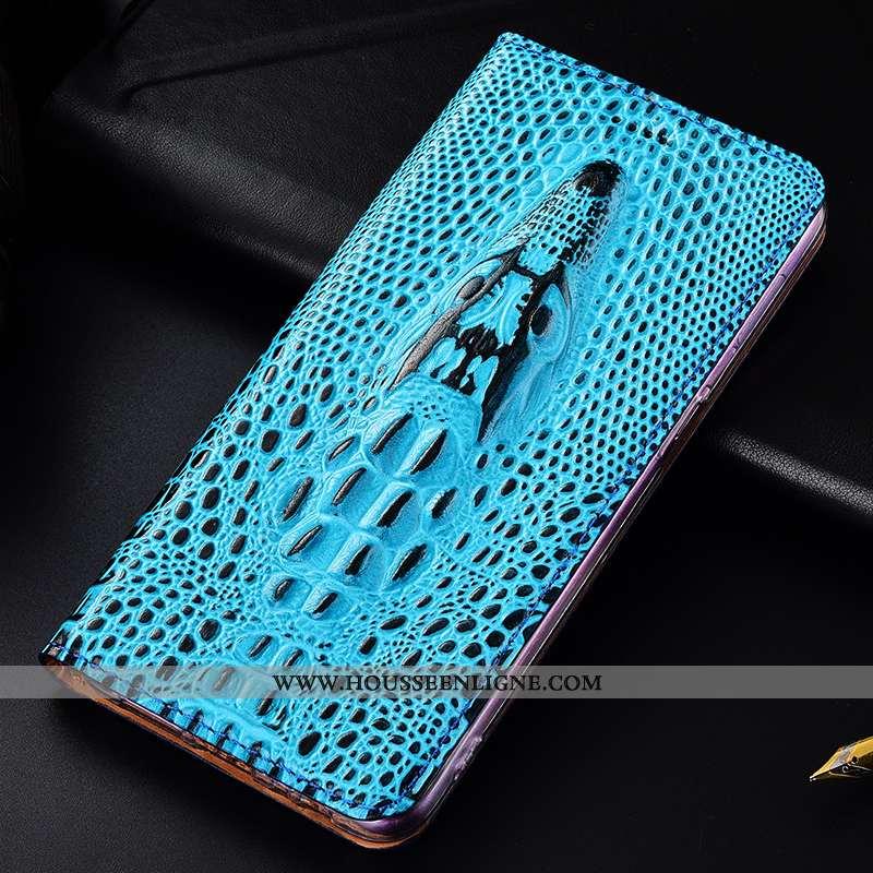 Housse Samsung Galaxy A20e Protection Cuir Véritable Téléphone Portable Bleu Coque Crocodile