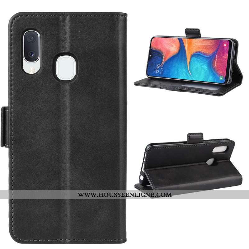 Housse Samsung Galaxy A20e Protection Modèle Fleurie Téléphone Portable Petit Magnétisme Étui Noir