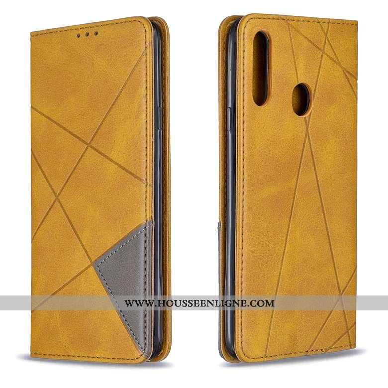 Housse Samsung Galaxy A20s Cuir Protection Coque Losange Étui Étoile Jaune