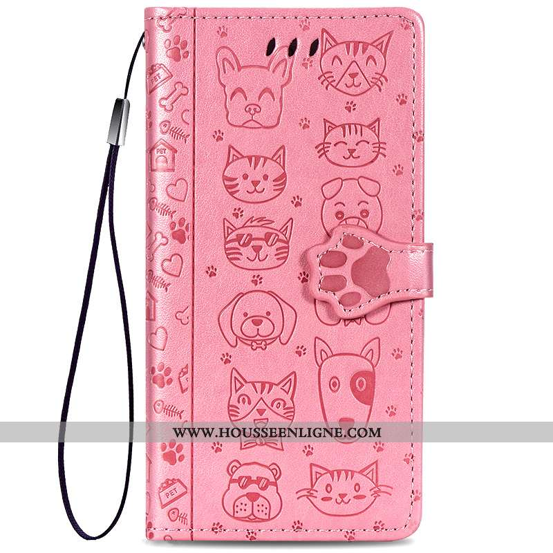 Housse Samsung Galaxy A20s Cuir Protection Dessin Animé Chat Clamshell Coque Tendance Rose