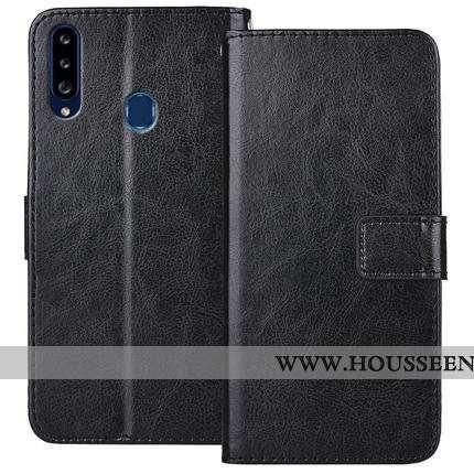 Housse Samsung Galaxy A20s Tendance Cuir Coque Protection Téléphone Portable Étoile Clamshell Noir