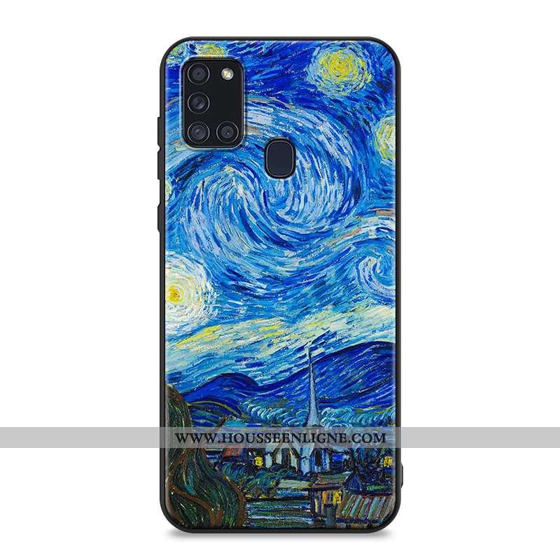 Housse Samsung Galaxy A21s Créatif Dessin Animé Coque Étoile Téléphone Portable Bleu Délavé En Daim