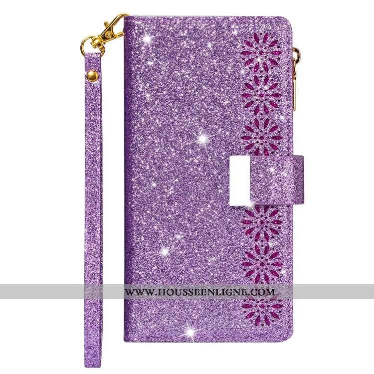 Housse Samsung Galaxy A21s Cuir Étoile Étui Téléphone Portable Coque Ciel Étoilé Violet