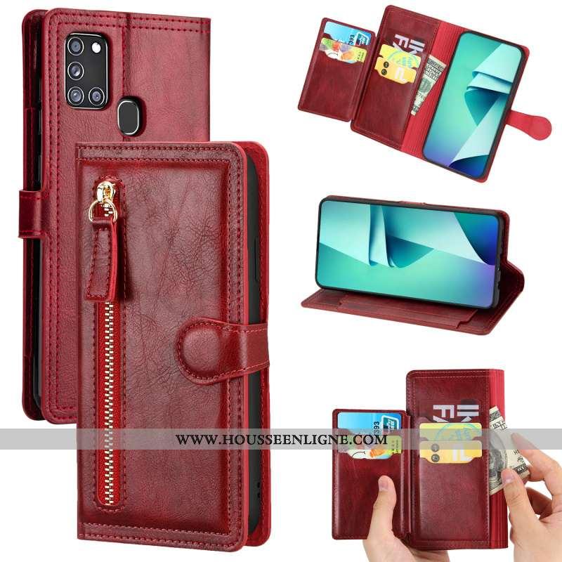 Housse Samsung Galaxy A21s Cuir Tendance Étoile Business Téléphone Portable Incassable Vin Rouge Bor